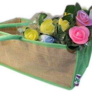 Moses Basket 35x15x17cm Green Jute Gift Bags