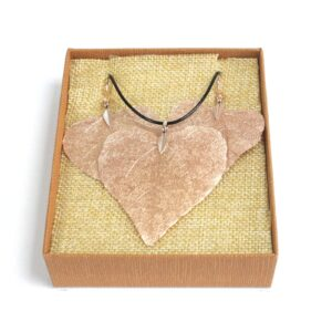 Necklace and Earring Set Heart Leaf Pink Gold Leaf Jewellery