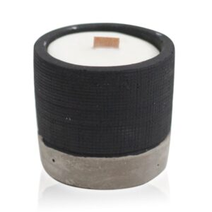 Pot Black Brandy Butter Concrete Wooden Wick Candle