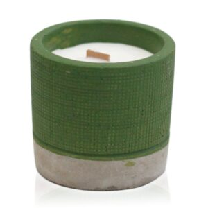 Pot Green Sea Moss and Herbs Concrete Wooden Wick Candle