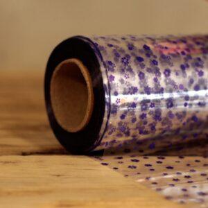 Purple Flower Pattern Film Wrap 80cm x 100m Counter Reels & Film Wrap