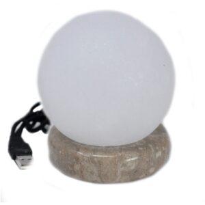 Quality USB Ball WHITE Salt Lamp 9 cm Quality Himalayan Salt Lamps & Candle Holders