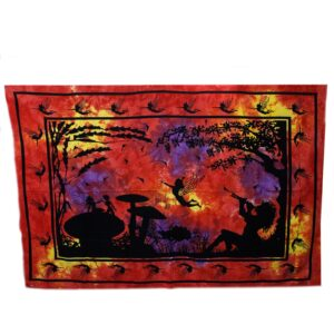 Red  Orange Fairy Under Tree Iconic Indian Bedspreads or Wall Hangings