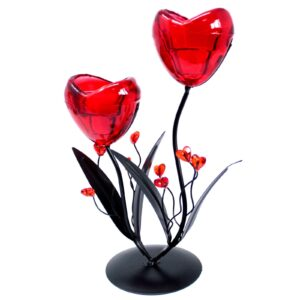 Romantic Candleholder Twin Hearts Flower Romantic Candle Holders