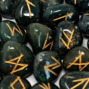 Runes Stone Set in Pouch  Bloodstone Indian Rune Sets