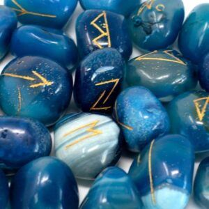 Runes Stone Set in Pouch Blue Onyx Indian Rune Sets