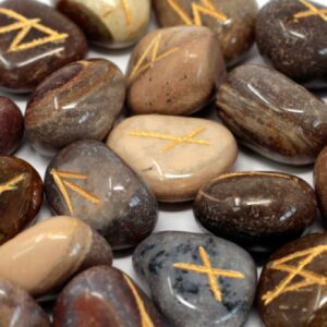 Runes Stone Set in Pouch Fancy Jasper Indian Rune Sets