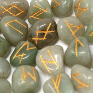 Runes Stone Set in Pouch Green Aventurine Indian Rune Sets