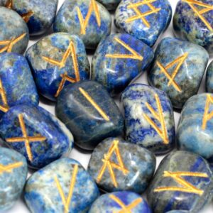 Runes Stone Set in Pouch Lapis Indian Rune Sets