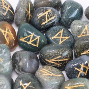 Runes Stone Set in Pouch Moss Agate Indian Rune Sets
