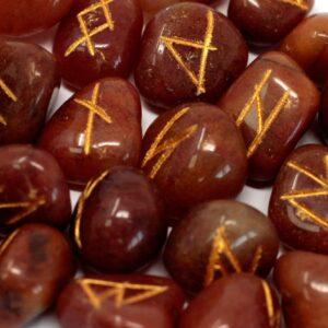 Runes Stone Set in Pouch Red Aventurine Indian Rune Sets