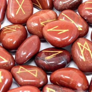 Runes Stone Set in Pouch Red Jasper Indian Rune Sets