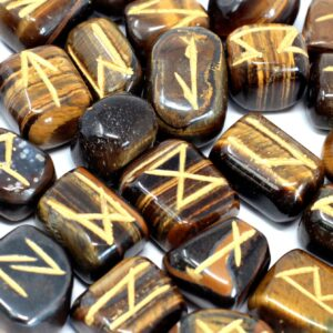 Runes Stone Set in Pouch Tiger Eye Indian Rune Sets