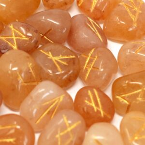 Runes Stone Set in Pouch Yellow Aventurine Indian Rune Sets