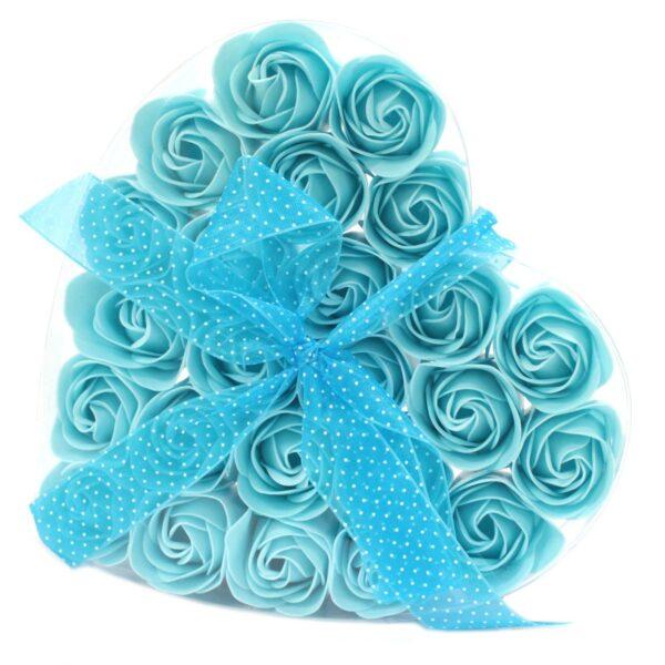 Set of 24 Soap Flower Heart Box Blue Roses Luxury Soap Flowers