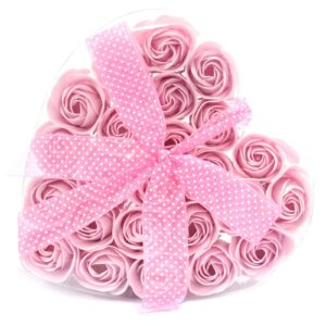 Set of 24 Soap Flower Heart Box Pink Roses Luxury Soap Flowers