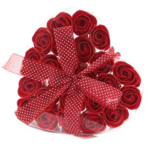 Set of 24 Soap Flower Heart Box Red Roses Luxury Soap Flowers