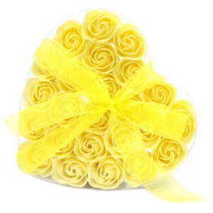 Set of 24 Soap Flower Heart Box Yellow Roses Luxury Soap Flowers