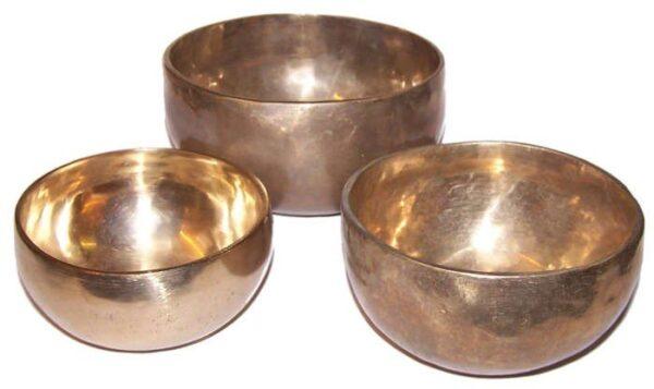 Set of 3 Handmade Brass Singing Bowls Tibetan Singing Bowls