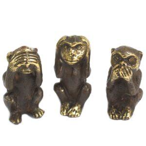 Set of 3 See No Evil etc Monkeys Brass Fengshui Objects