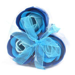Set of 3 Soap Flower Heart Box Blue Wedding Roses Luxury Soap Flowers