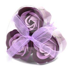Set of 3 Soap Flower Heart Box Lavender Roses Luxury Soap Flowers