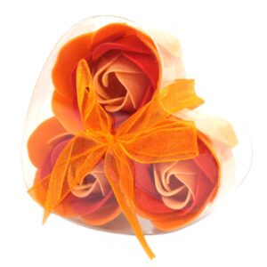 Set of 3 Soap Flower Heart Box Peach Roses Luxury Soap Flowers