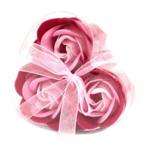 Set of 3 Soap Flower Heart Box Pink Roses Luxury Soap Flowers