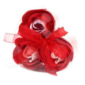 Set of 3 Soap Flower Heart Box Red Roses Luxury Soap Flowers