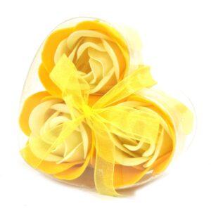 Set of 3 Soap Flower Heart Box Spring Roses Luxury Soap Flowers