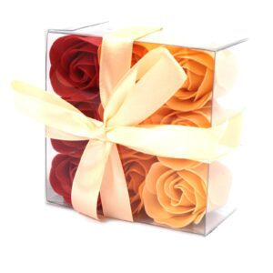Set of 9 Soap Flower Box Peach Roses Luxury Soap Flowers