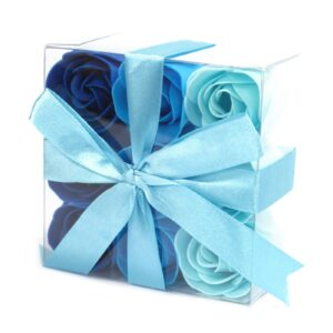 Set of 9 Soap Flowers Blue Wedding Roses Luxury Soap Flowers