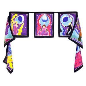 Seven Flags Moon Goddess 7x 32x23cm Bali Wax Batik Wall Hangings