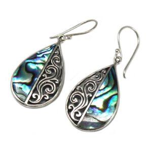 Shell and Silver Earrings Teardrop Abalone Shell & Silver Earrings