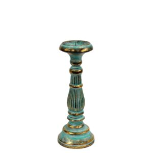 Small Candle Stand Turquois Gold Vintage Candle Stands