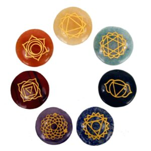 Small Stones Chakra Set  Rounded shape Esoteric Pouch Sets