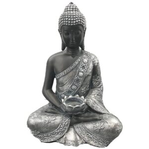Thai Buddha Figurine Black and Silver Calming Tea Light Holder Thai Buddha Figures