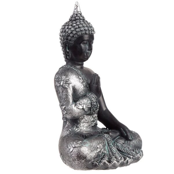 Thai Buddha Figurine Black and Silver Meditation Home Décor