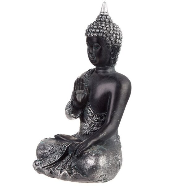 Thai Buddha Figurine Black and Silver Meditation Thai Buddha
