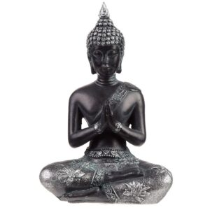 Thai Buddha Figurine Black and Silver Meditation Thai Buddha Figures