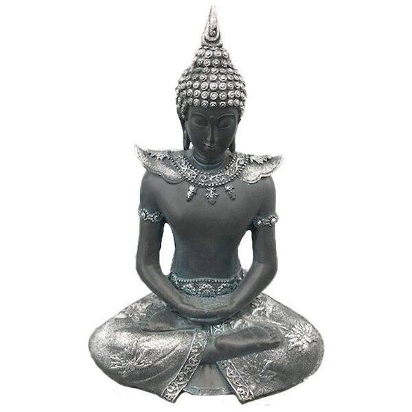 Thai Buddha Figurine Black and Silver Serenity Thai Buddha Figures
