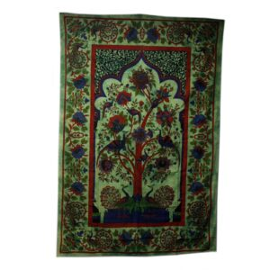 Tree of Life Green Iconic Indian Bedspreads or Wall Hangings
