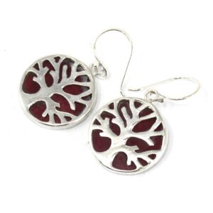 Tree of Life Silver Earrings 15mm Coral Effect Tree of Life Silver Jewellery
