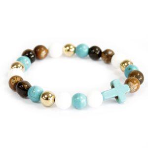 Turquoise Cross  Royal Beads Gemstone Bracelet Boho Bling Gemstones