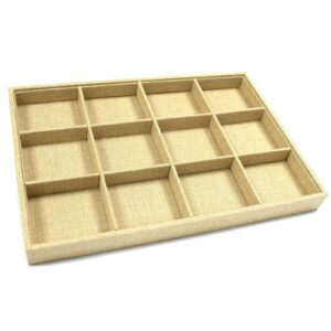 Twelve Compartment Display Tray Natural Rattan Jewellery Displays