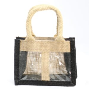 Two Jar Jute Gift Bag Black Soft Handle Jute Gift Bags