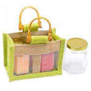 Two Jar Jute Gift Bag Green Jute Gift Bags