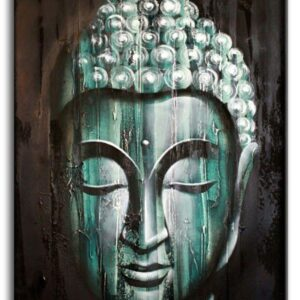 Wood Buddha Green  60x80cm Bali Original Art