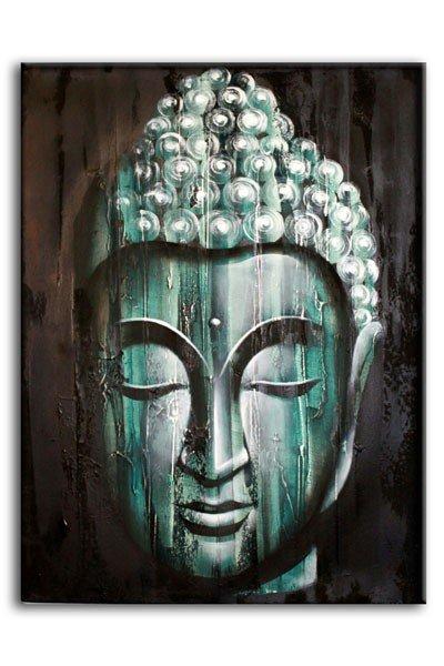 Wood Buddha Green  60x80cm Bali Original Art